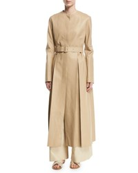 The Row Tess Collarless Leather Coat Khaki