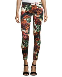 7 For All Mankind Floral Print Ankle Skinny Jeans Black