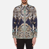 Versace Collection Men's Printed Silk Shirt Navy Blue
