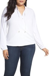 Michael Michael Kors Plus Size Women's Crossover Woven Front Top White