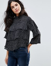 Influence High Neck Frill Top Black And White