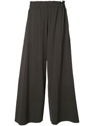 Issey Miyake Wide Leg Cropped Trousers Women Cotton Nylon Polyurethane 2 Grey
