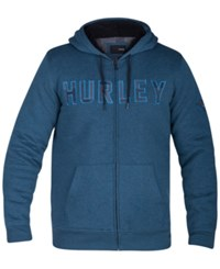 Hurley Men's Graphic Print Zip Up Hoodie Heather Blue