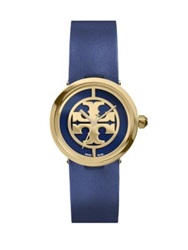 Tory Burch Reva Goldtone Stainless Steel And Leather Strap Watch Navy Gold Blue