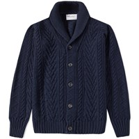 Albam Linen Cable Knit Cardigan Blue