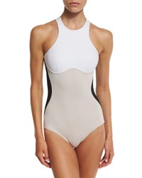 Stella Mccartney Miracle Colorblock One Piece Swimsuit Black Stone White