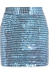 Ashish Sequined Silk Georgette Mini Skirt Blue