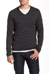 Dkny Striped V Neck Sweater Gray