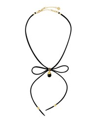Nakamol Suede Bow Tie Choker Necklace Black
