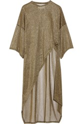 Esteban Cortazar Asymmetric Metallic Ribbed Knit Tunic Gold