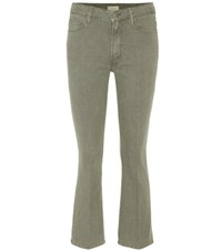 Mother Mid Rise Cropped Flared Jeans Green