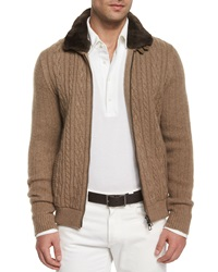 Loro Piana Cable Knit Cashmere Bomber Jacket Brown