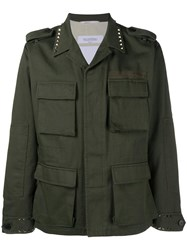 Valentino Rockstud Untitled Army Field Jacket Green