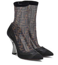 Fendi Satin Ankle Boots Black
