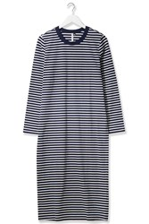 Striped Long Sleeved Midi Dress By Boutique Navy Blue