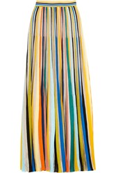 Missoni Striped Crochet Knit Maxi Skirt Yellow