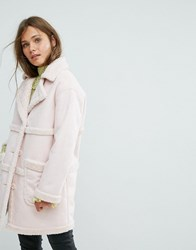 Miss Selfridge Exclusive Reversible Faux Shearling Coat Pink