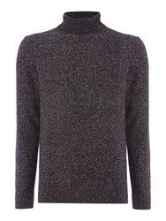 Linea Men's Arienne Salt And Pepper Roll Neck Jumper Black And Grey Black And Grey