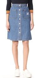 Courreges Snap Midi Skirt Washed Out Blue