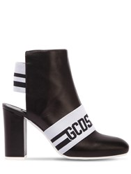 Gcds 100Mm Leather Logo Ankle Boots Black White