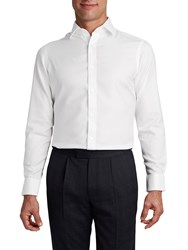 T.M.Lewin Men's Tm Lewin White Twill Button Cuff Fitted Shirt White