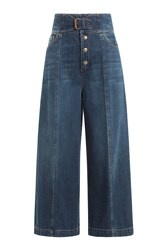 Red Valentino Cotton Denim High Waisted Culottes Blue