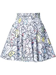 Mira Mikati Printed Full Skirt White