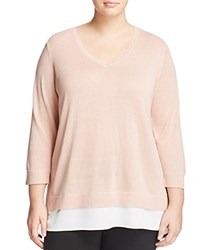 Calvin Klein Plus Long Sleeve V Neck Sweater Blush