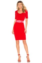 Milly Belted Fitted Sheath Dress Red