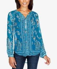 Lucky Brand Printed Blouse Turquoise Multi
