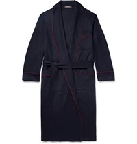Loro Piana James Piped Baby Cashmere Robe Midnight Blue
