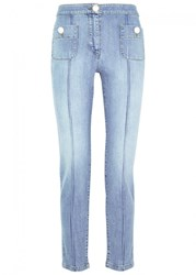 Boutique Moschino Faux Pearl Embellished Cropped Jeans Denim