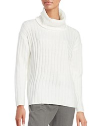 Lord And Taylor Merino Wool Ribbed Turtleneck Sweater Ivory