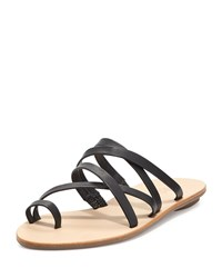 Sarie Leather Toe Ring Flat Sandal Black Loeffler Randall Black Buff