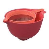 Venn Mixing Bowl Colander And Sieve Set Red