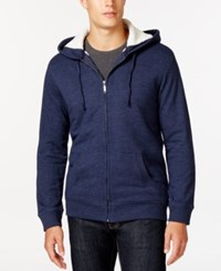 Club Room Sherpa Lined Fleece Hoodie Only At Macy's Navy Blue