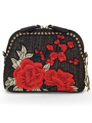 Chesca Rose Embroidered Cross Body Bag Black Red