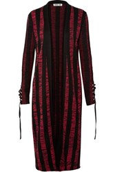 Mcq By Alexander Mcqueen Lace Up Striped Cotton Cardigan Red