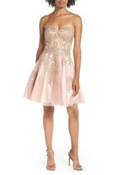 Blondie Nites Strapless Applique Party Dress Blush Gold