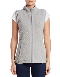 Context Quilted Stand Collar Vest Grey