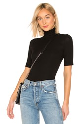 Enza Costa Rib Fitted Turtleneck Top Black