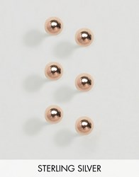 Asos Sterling Silver Rose Gold Plated Pack Of 3 Ball Stud Earrings Rose Gold Copper