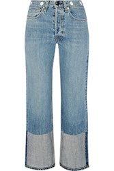 Rag And Bone High Rise Cropped Embellished Straight Leg Jeans Light Blue