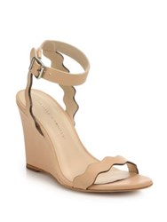 Loeffler Randall Scallop Leather Wedge Sandals