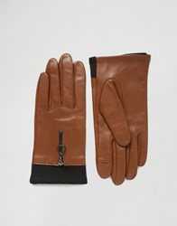 Asos Leather Gloves With Knit And Circle Zip Brown