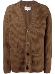 Maison Martin Margiela Distressed Effect Ribbed Cardigan Brown