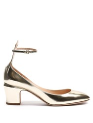 Valentino Tan Go Block Heel Leather Pumps Gold