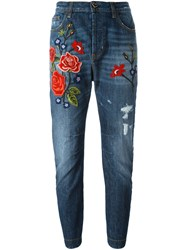 Twin Set Rose Embroidery Boyfriend Jeans Blue