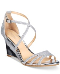 Jewel By Badgley Mischka Hunt Evening Wedge Sandals Women's Shoes Silver