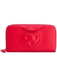 Anya Hindmarch Large Chubby Heart Zip Around Wallet Red